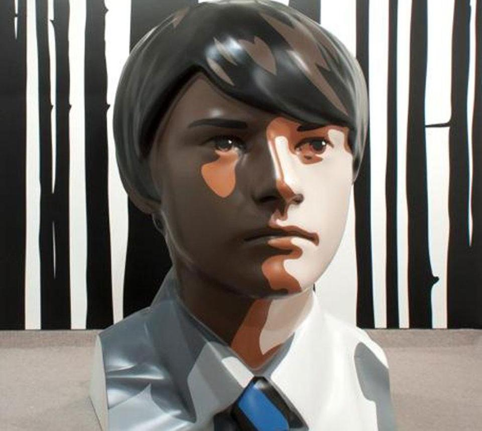 "Julian Opie's ""Daniel,"" at Barbara Krakow Gallery, is a bust of a boy that is more than six feet tall."